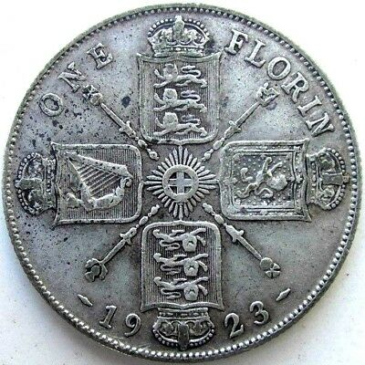 Great Britain Uk Coins, One Florin 1923, George V, Silver 0.500