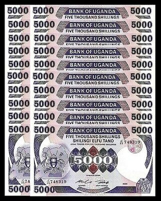 Uganda 5000 5,000 Shillings 1986 Unc 20 Pcs Consecutive Lot P 24B