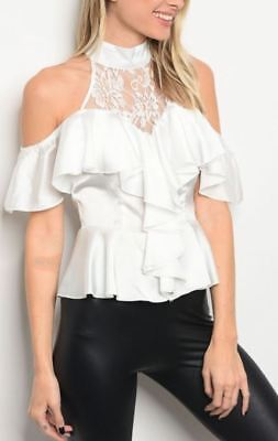White Tuxedo Style Romantic Halter Victorian Cold Shoulder Mock Lace Ruffle Top