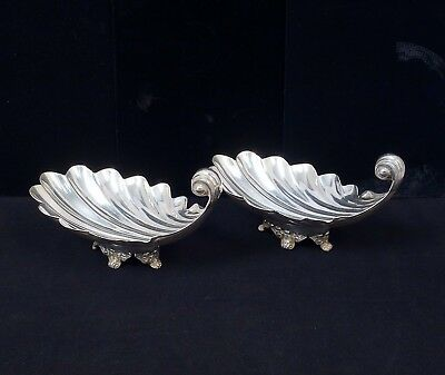 Fine Pr Sanborns Mexico Sterling Silver Footed Shell Form Serving Dishes 19+ozt