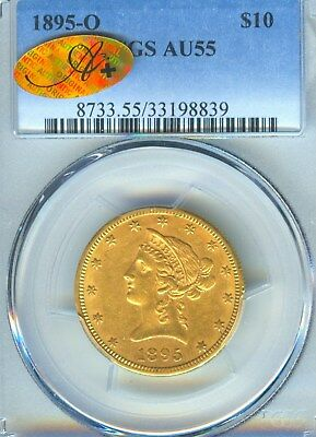 1895 O $10 Liberty Gold PCGS A+ Holder AU 55 Gold Type Coin New Orleans Mint