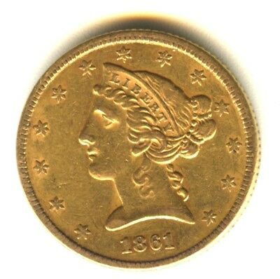 1861 $5 Gold Piece Liberty Half Eagle Lustrous XF+ In Grade 100% Original