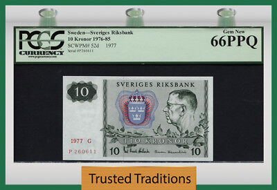 TT PK 52d 1976-85 SWEDEN 10 KRONOR PCGS 66 PPQ RARE IN GRADING - FINEST KNOWN!
