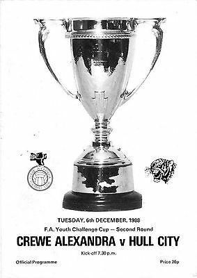 Football Programme>CREWE ALEXANDRA YOUTH v HULL CITY YOUTH Dec 1988