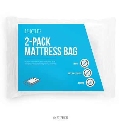 LUCID 2-Pack Mattress Moving and Storage Bags - Water and Dirt Resistant