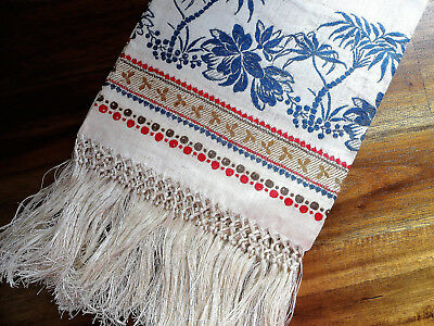 Antique Victorian Linen Fringe Show Towel with Palm Trees Tropical UNUSED