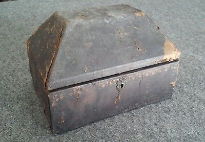 Antique Wood Dome Top Box Leather Covered Green Silk Interior Losses for repair