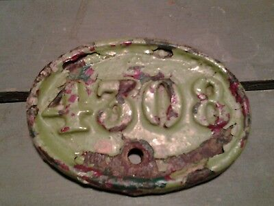 Old shabby chic cast iron house number 4308