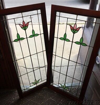 Nice Pair of Antique 1920's Stained Leaded Glass Cabinet Doors / Windows