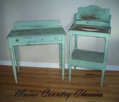 Primitive Washstand & Dressing Table w/Drawer & Splash in Old Grungy Green Paint