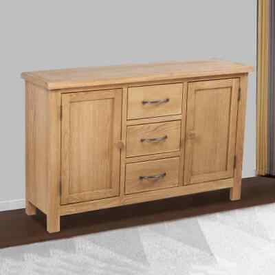 Solid Oak Timber Sideboard 3 Drawer 2 Cupboard Buffet Storage Cabinet Kitchen
