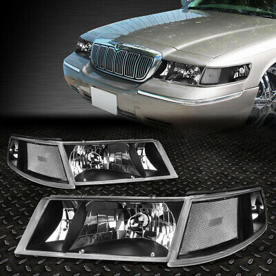 For 98-02 Grand Marquis Pair Black Housing Headlight+Clear Side Turning Signal