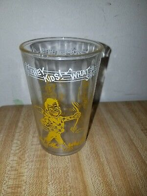 Vintage 1953 HOWDY DOODY Welch's Jelly glass Hey Kids What A Shot Bottom