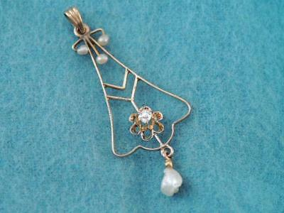 ANTIQUE VICTORIAN 10K GOLD MINE CUT DIAMOND LAVALIER PENDANT w SEED PEARLS $9.99