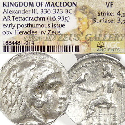 ALEXANDER the Great NGC VF PHOENICIA Ancient Greek Silver Coin Tetradrachm 322BC