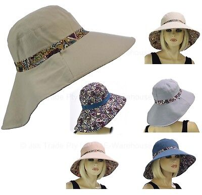 Ladies Wide Brim Outdoor Back Flap REVERSIBLE Packable Flower Cotton Sun Hat