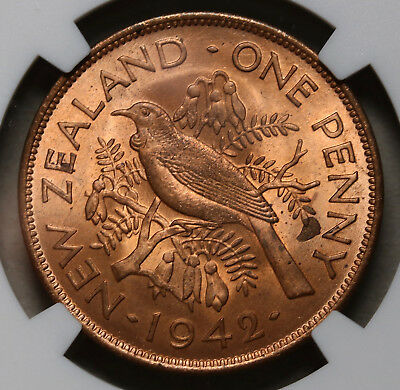 1942 NZ New Zealand Penny George VI KM# 13 NGC MS64 RB BU Coin RARE Key Date