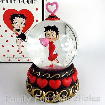 BETTY BOOP~1999 Westland Giftware~Musical Snow Dome~Valentine~Water Globe~MIB