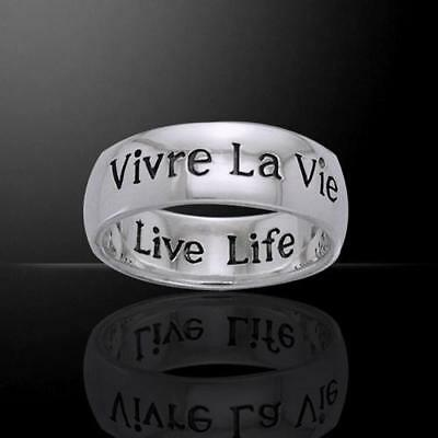 Vivre La Vie Live Life Silver Ring - Empowering Words Collection