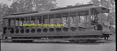 Connecticut Company Original B&w Trolley Negative Car 1460 At New Haven In 1935