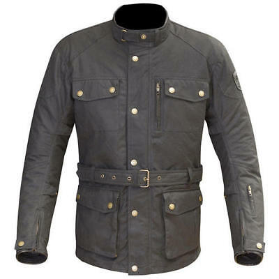 Merlin Atlow Mens Black Waxed Cotton Belted Waterproof CE Armoured Jacket