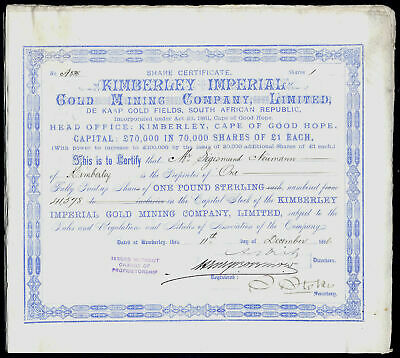 South Africa; Kimberley Imperial Gold Mining Co., 1886, signed by Alfred Beit
