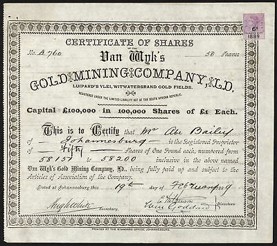 South Africa; Van Wyk's Gold Mining Co. Ltd., £1 shares, signed Abe Bailey, 1889