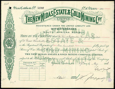 South Africa; New Midas Estate & Gold Mining Co. Ltd., £1 shares, 1896