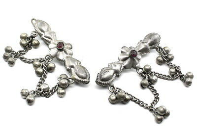 Antique vintage real pure Silver Hair Clip pin Pair Women Jewelry accessory
