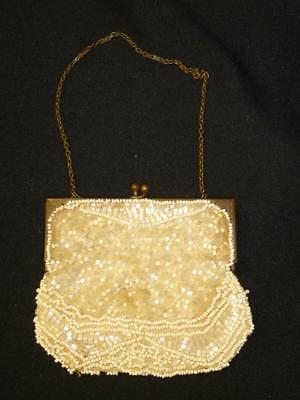 Antique Vintage 1920s WHITE Micro Beaded Small Frame Purse Bag ART DECO 4x 4.5""