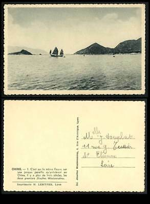 China Old Postcard Chinese Junks Native Sailing Boats Jesuites Missionnaires N.3