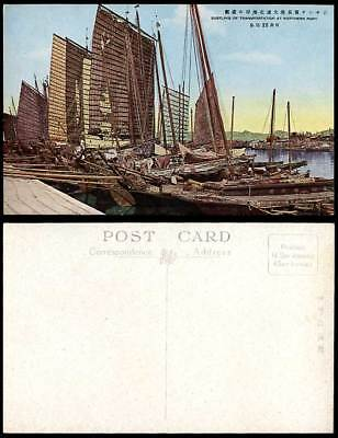 China 1922 Old Postcard Chinese Junks Sailing Boats Northern Port Harbour Dairen