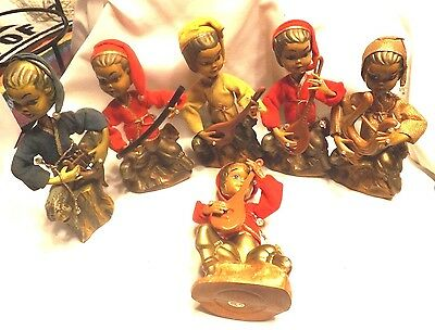 6 Cute Composit Oriental Golden Fantasy Figurines Playing Instruments One Box
