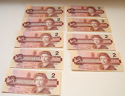9  1986 Canadian 2 Dollar Bills with 2 Having Consecutive Numbers EGC Series