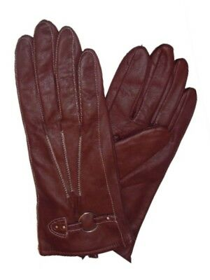 Chill Proof Womens Brown Leather Stitched Ring Gloves