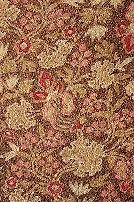 Antique French cretonne 1880 brown Arts and Crafts fabric material upholstery