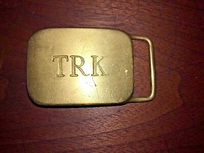 Initials TRK Vintage Belt Buckle  Solid Brass USA monogram