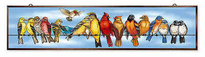 "Amia Stained Glass 40"" X 9""  On Line Dating Birds Window Panel  #42515"