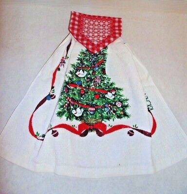 Mid Century Vintage Christmas Tree Kitchen Towel Terrycloth Embroidered Snap Top