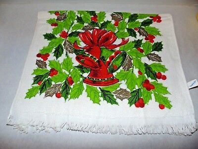 Mid Century Vintage Christmas Holly Bells Kitchen Hand Towel Cotton Terrycloth