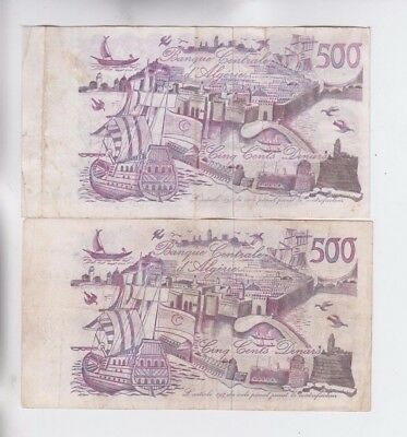 Algeria 2 old notes fine stains