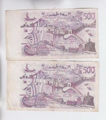 Algeria 2 old notes fine stains and tear