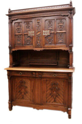 Antique French Gothic Cabinet in Walnut Unique & Special Carved Design 19th Ctry