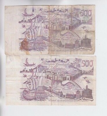 Algeria 2 old notes fine stains tear