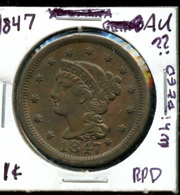 Amazing 1847 United States Coronet Whizzed Large Cent VL476