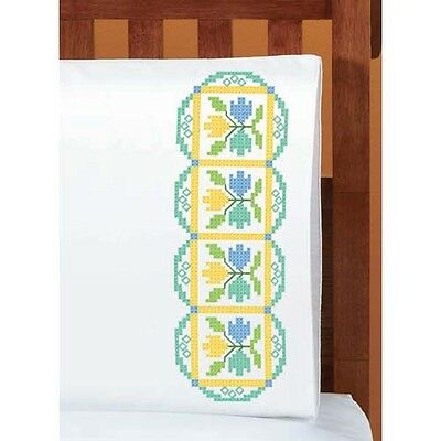 Herrschners/® Yellow Tulips Pillowcase Pair Stamped Cross-Stitch