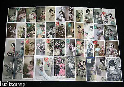 Lot C43 : 44 Cpa Fantaisie Femme Miss Pin-Up Glamour Mode Couture Fashion 1900