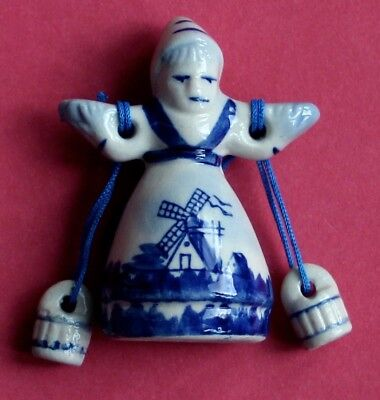 Souvenir Fridge Magnet Holland Young Milkmaid With Yoke And Buckets