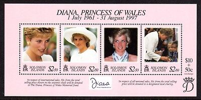 1998 SOLOMON ISLANDS PRINCESS DIANA COMMEMORATION minisheet SG908 mint unhinged