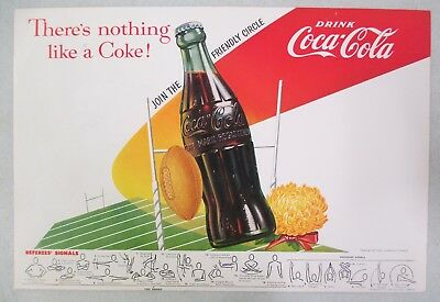 1955 Coca Cola Bottle Football Referee Signal Double Sided Advertisement Poster